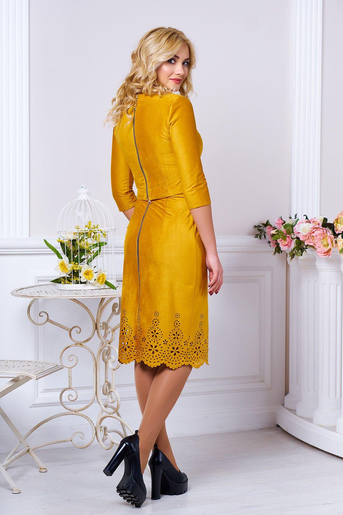 Модний жіночий гірчичний костюм з штучної замші Астрід - купити ... 0660050e61586