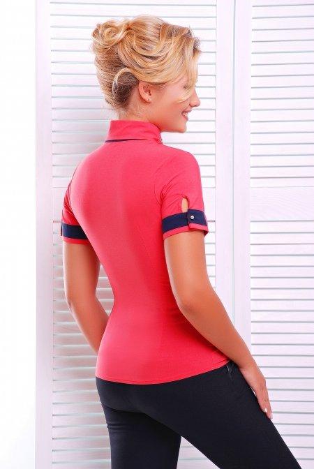 f530cd5bcb2 Стильная коралловая блузка - рубашка с коротким рукавом Омега ...