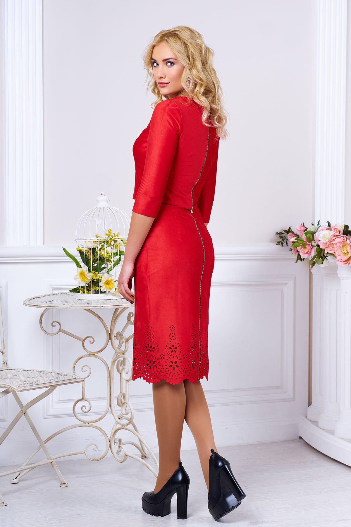 Модний жіночий червоний костюм з штучної замші Астрід - купити ... 4143f04562a96