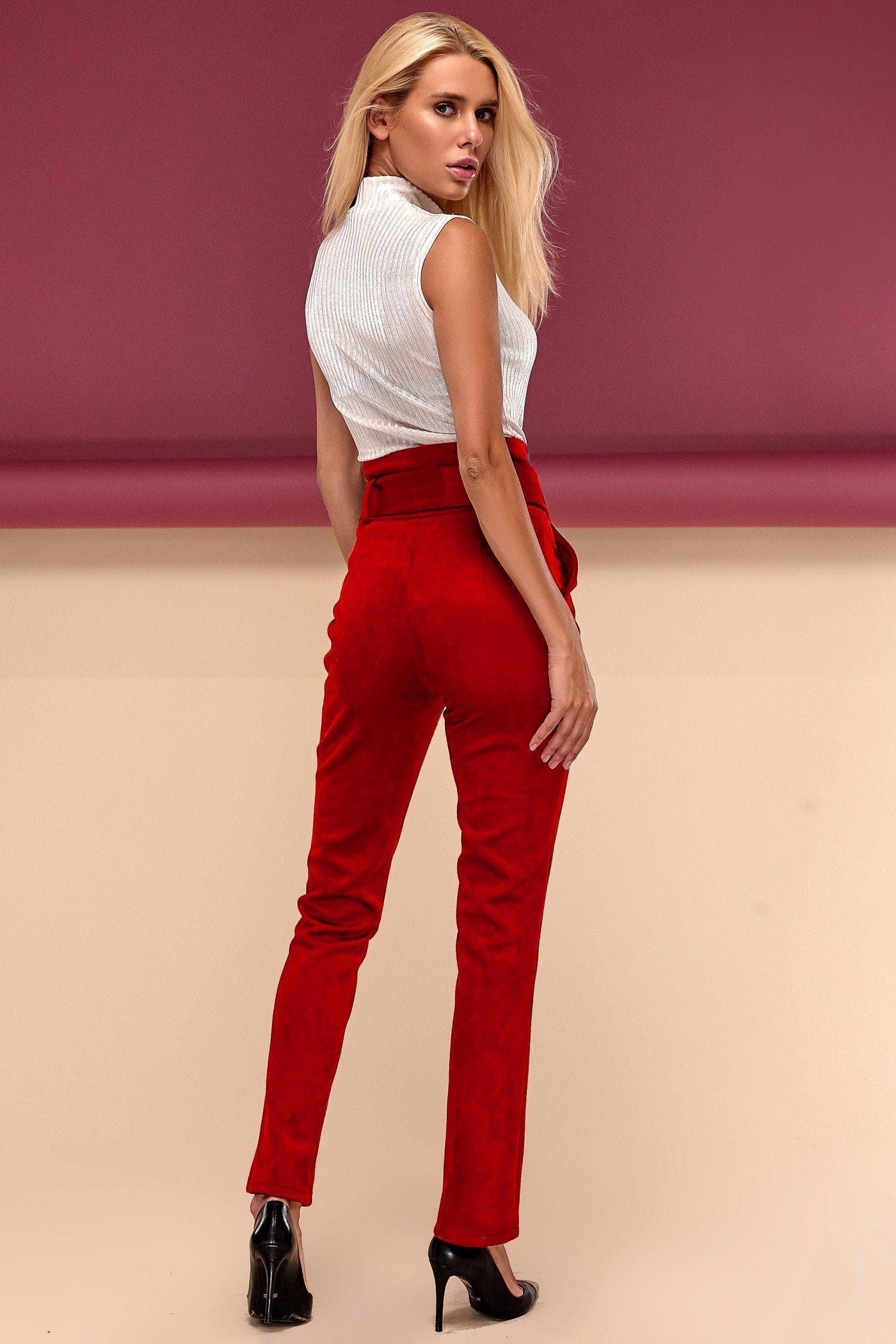 Червоні брюки з високою посадкою Дея - купити недорого — Donna Bella ... 12ed4bb2b4612