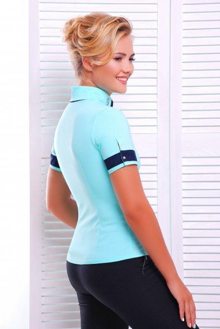 1c0439bf158 Стильная блузка - рубашка с коротким рукавом Омега мята - купить недорого —  Donna Bella - Le-Омега-4-42