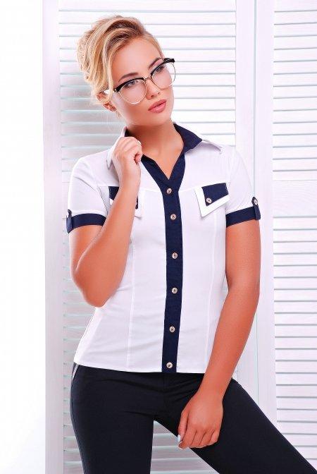 d4a96dd812d Молодежная белая блузка - рубашка с коротким рукавом Ярослава Lenida