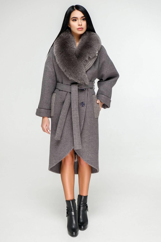 Сіро-фіолетове пальто П-1089 Тон 13 - купити недорого — Donna Bella ... 8b6493717b217