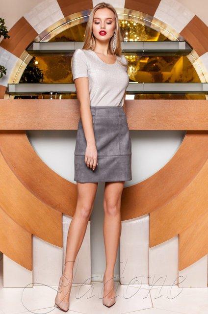 91095e5a0cd Серая замшевая юбка Ирис - купить недорого — Donna Bella - J-Ирис-1-42