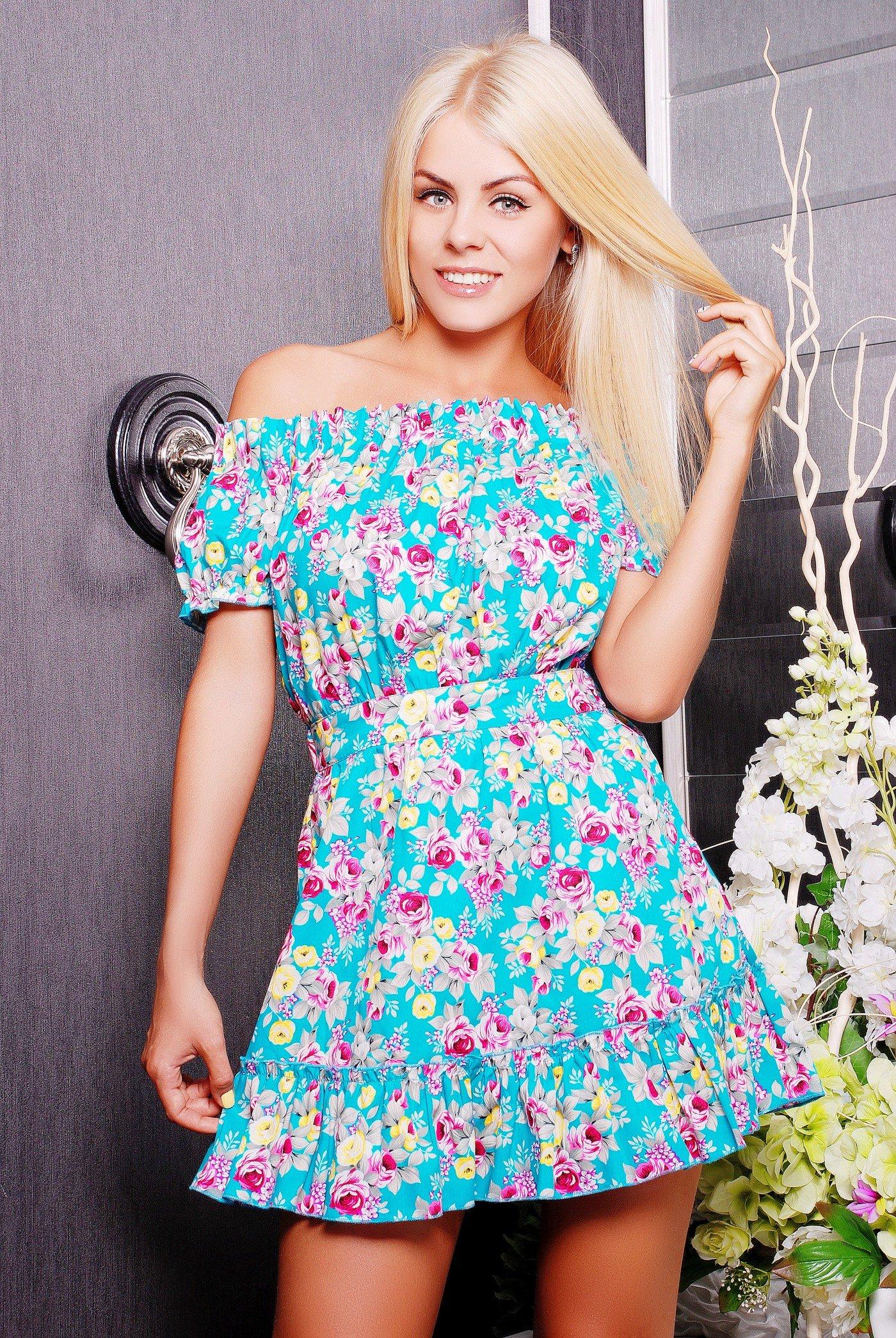 fc01f387f0f Яркое женское бирюзовое платье с принтом Букет - купить недорого ...