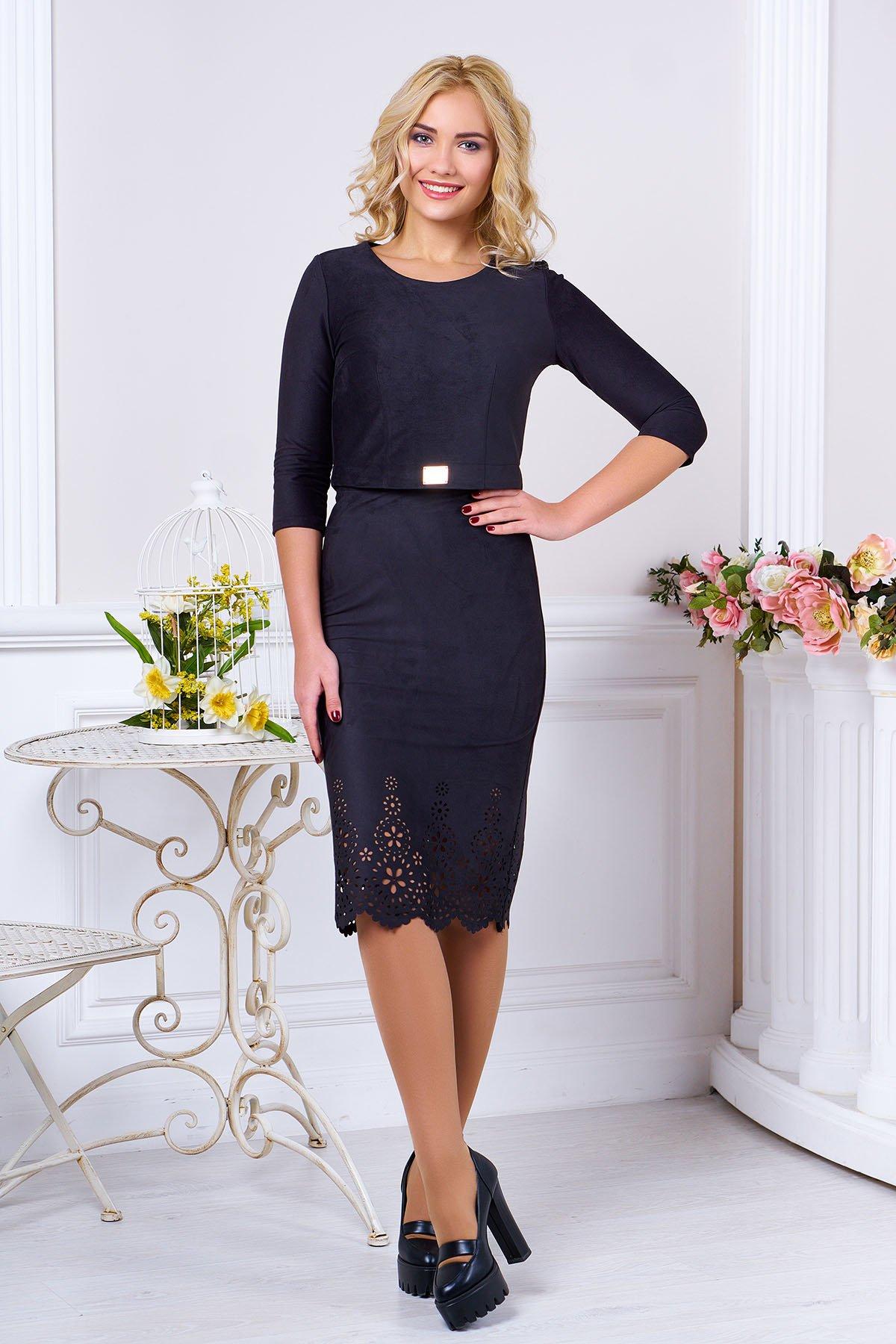 Модний жіночий чорний костюм з штучної замші Астрід - купити ... 5910ea0da52f1