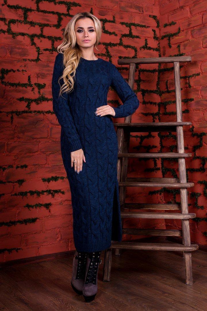 10bb2d46bddd68 Довге в'язане темно-синє плаття Лало - купити недорого — Donna Bella ...