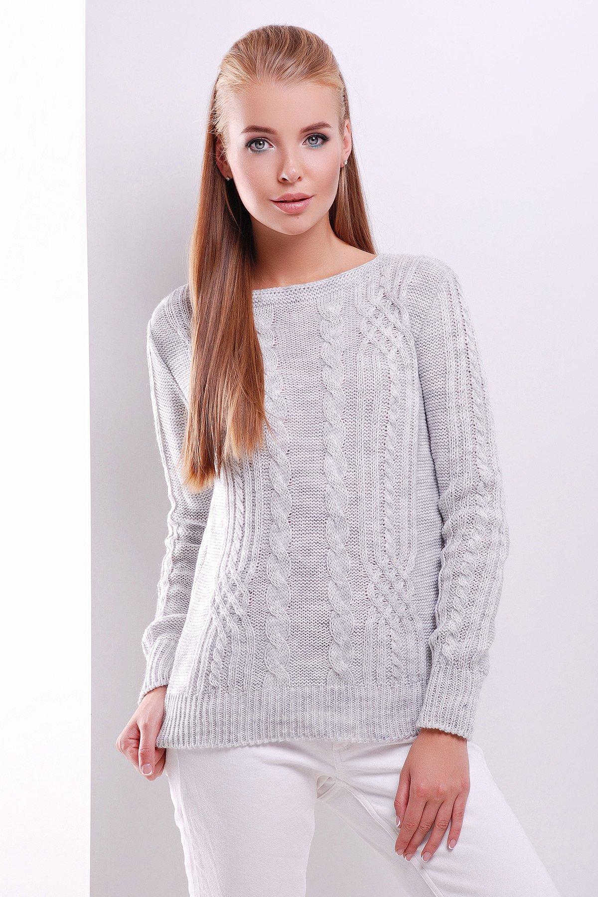 Плетений жіночий світло-сірий светр 15 - купити недорого — Donna ... 3aebc2016f04c