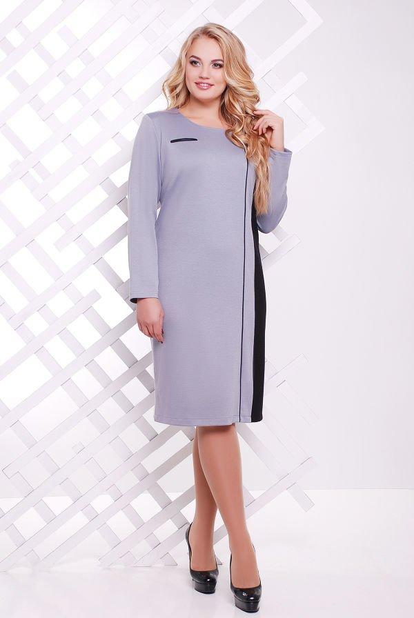 3937028f3e9 Трикотажное серое женское платье батал Дженни - купить недорого ...