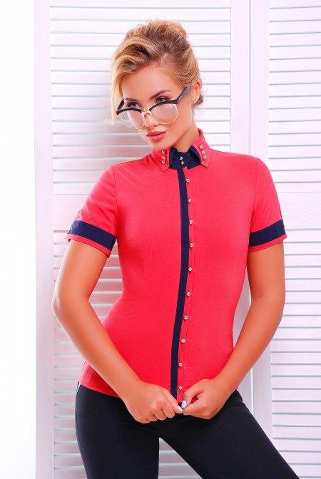 7f992bff863 Стильная коралловая блузка - рубашка с коротким рукавом Омега Lenida