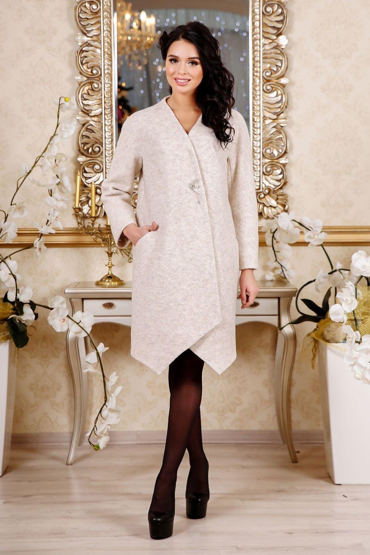 Демісезонне жіноче бежеве пальто В-1115 Cost Тон 87 - купити ... c829349fc74eb