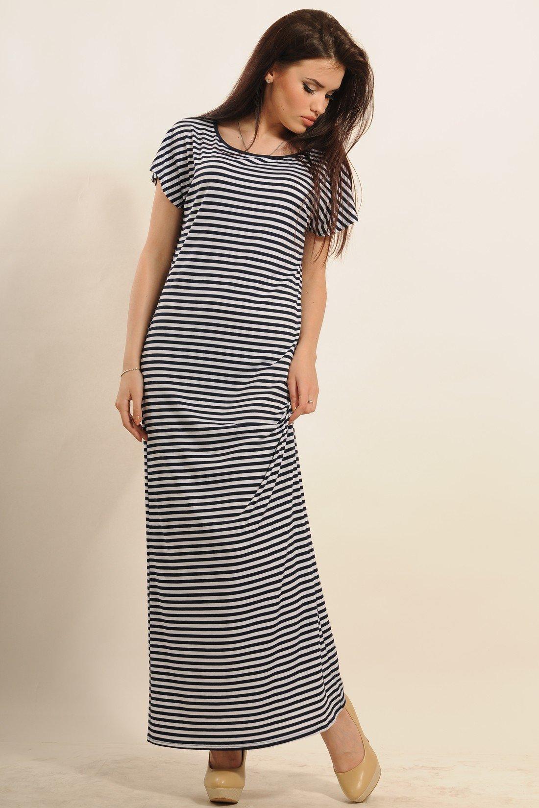 99b0573267aa Длинное летнее платье в полоску Круиз