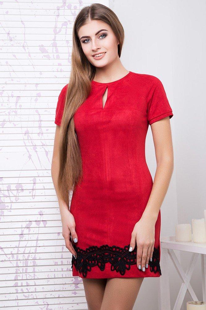 003b2ba1681 Молодежное красное замшевое платье Дана - купить недорого — Donna ...