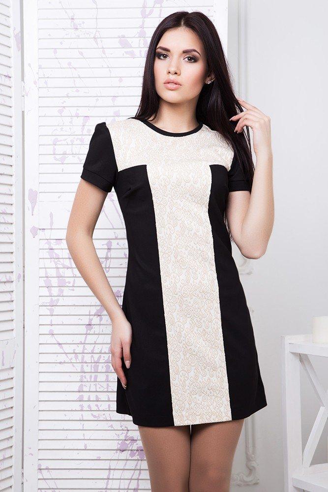 633400867715a8 Молодіжне коротке чорно-біле плаття Парча - купити недорого — Donna ...