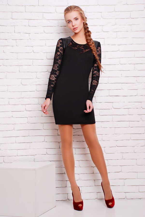 Чорне коротке плаття Віва - купити недорого — Donna Bella - Та-Вива-1-42 55e31376875f0