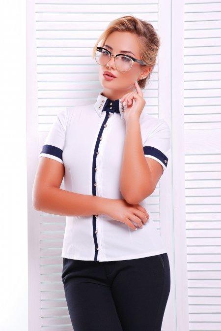 2a197257c8c Стильная белая блузка - рубашка с коротким рукавом Омега Lenida
