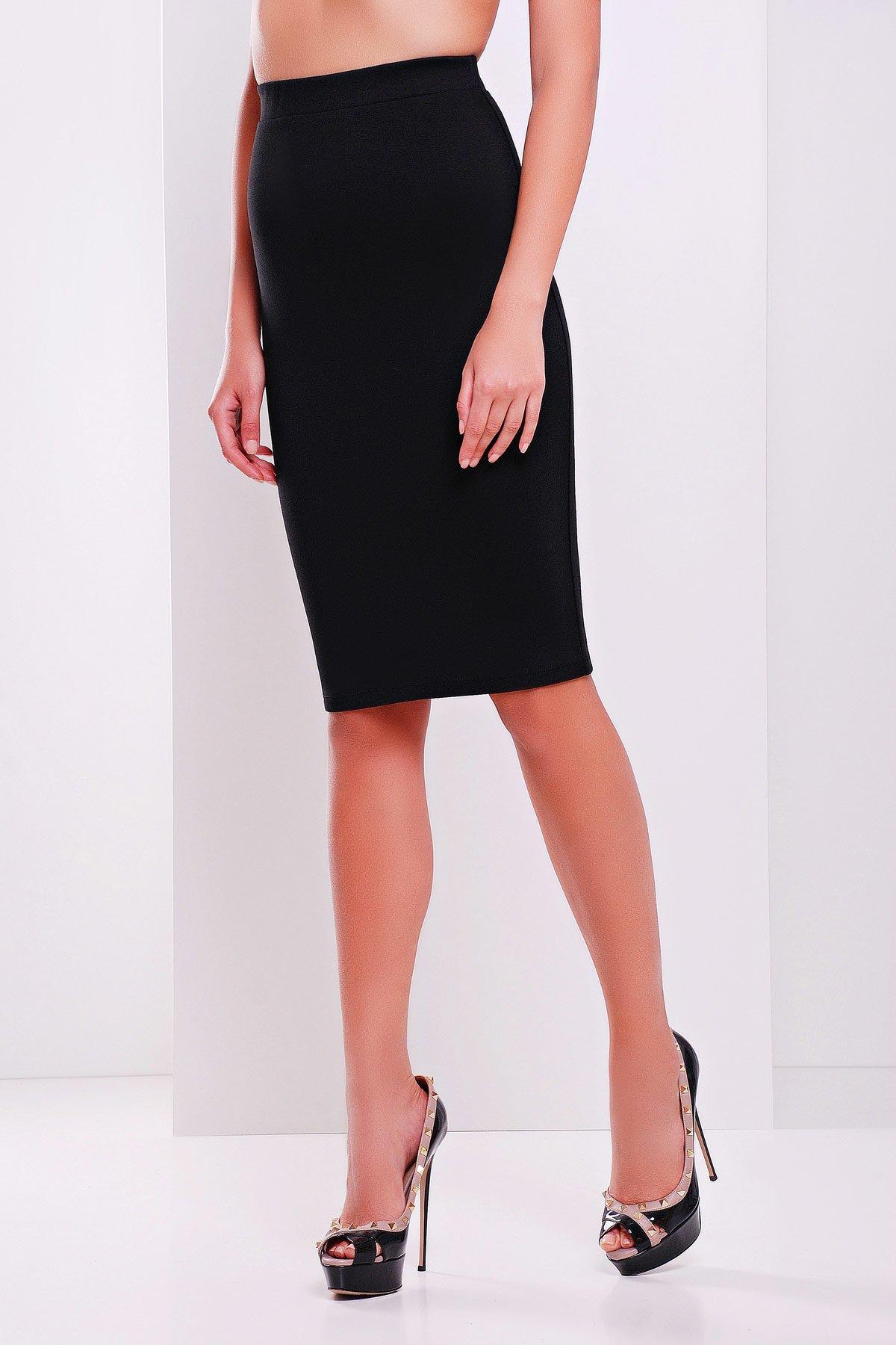ef71c87719a Черная юбка-карандаш из французского трикотажа №20 - купить недорого ...