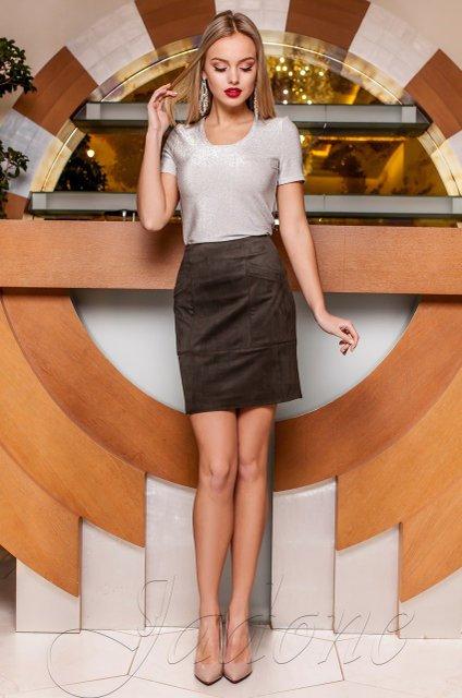 ed6393630ef Замшевая юбка Ирис хаки - купить недорого — Donna Bella - J-Ирис-6-42