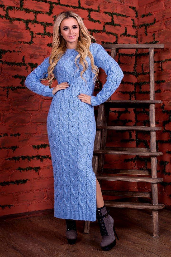 фото бирюзовое платье зима вязаное