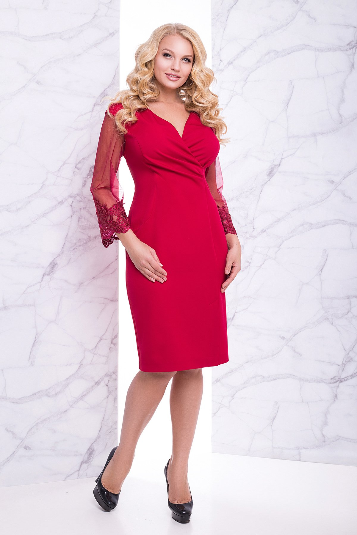 00a18b1fa92 Красное платье Евгения - купить недорого — Donna Bella - Lu-Евгения-1-50