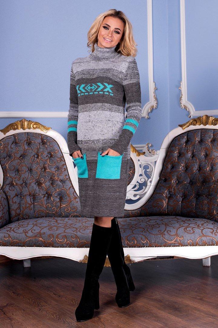 В язана зимова сіра сукня Муліне - купити недорого — Donna Bella ... 58c1f4e34c132