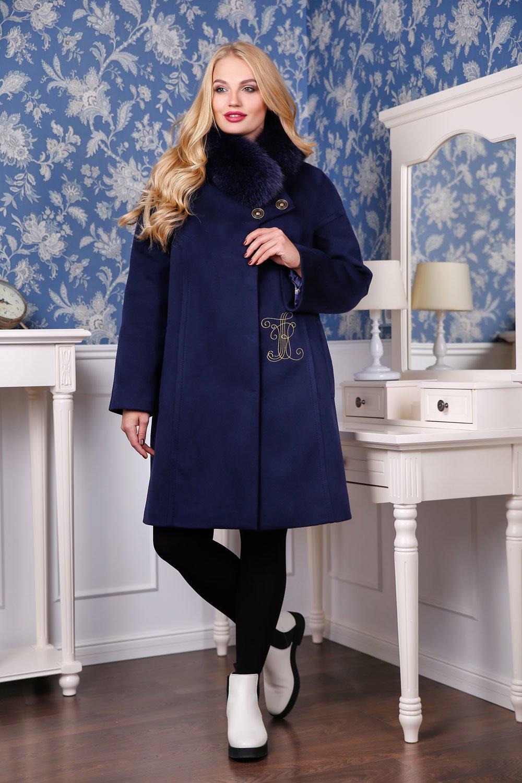 Жіноче зимове темно-синє пальто П-1051 н м Кашемір Тон 5 Favoritti cc896ce5fb970