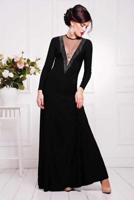 8ac00172649 Вечернее черное платье в пол Аркадия - купить недорого — Donna Bella ...