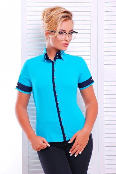86e94e741ba Стильная бирюзовая блузка - рубашка с коротким рукавом Омега Lenida
