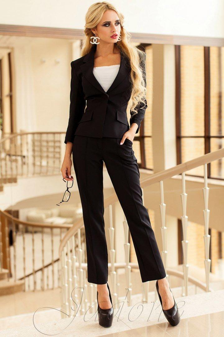 Брючний чорний жіночий діловий костюм Ясмин 2 - купити недорого ... 60cd41aa5ecfd