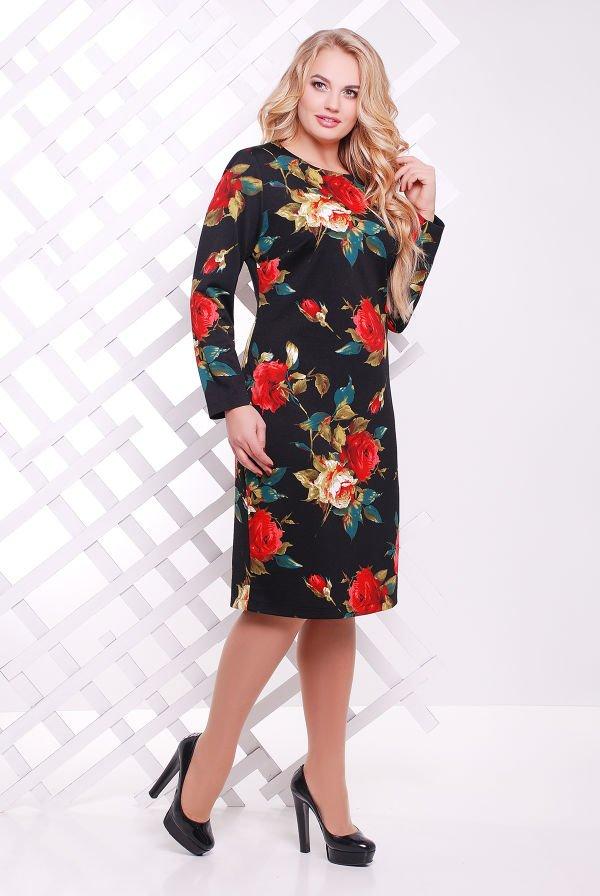 27039d956 Трикотажне жіноче чорне плаття з квітковим принтом Ірма - купити ...