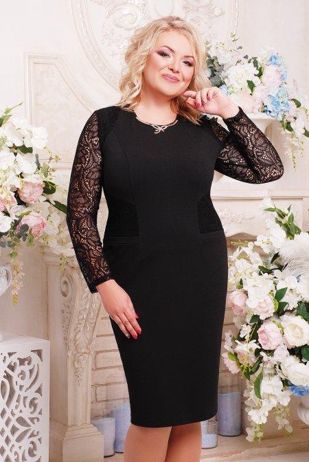 a324d7be2 Чорне трикотажне батальне плаття Тая - купити недорого — Donna Bella ...