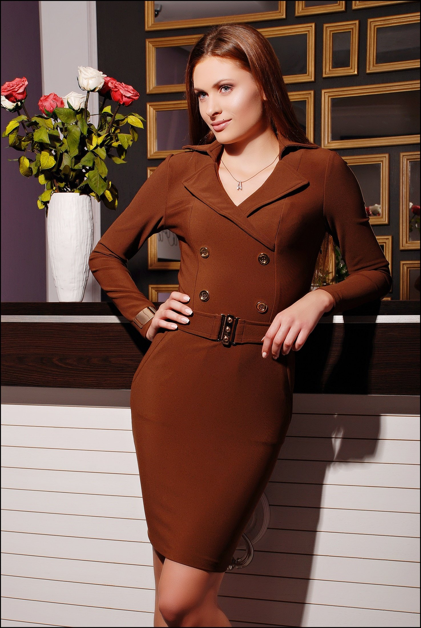 Класичне жіноче коричневе плаття Євро - купити недорого — Donna ... 21cfecc940a0f