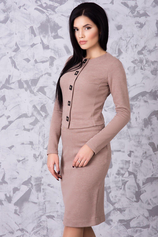 381ada21981cd7 Теплий жіночий офісний бежевий костюм Неаполь - купити недорого ...