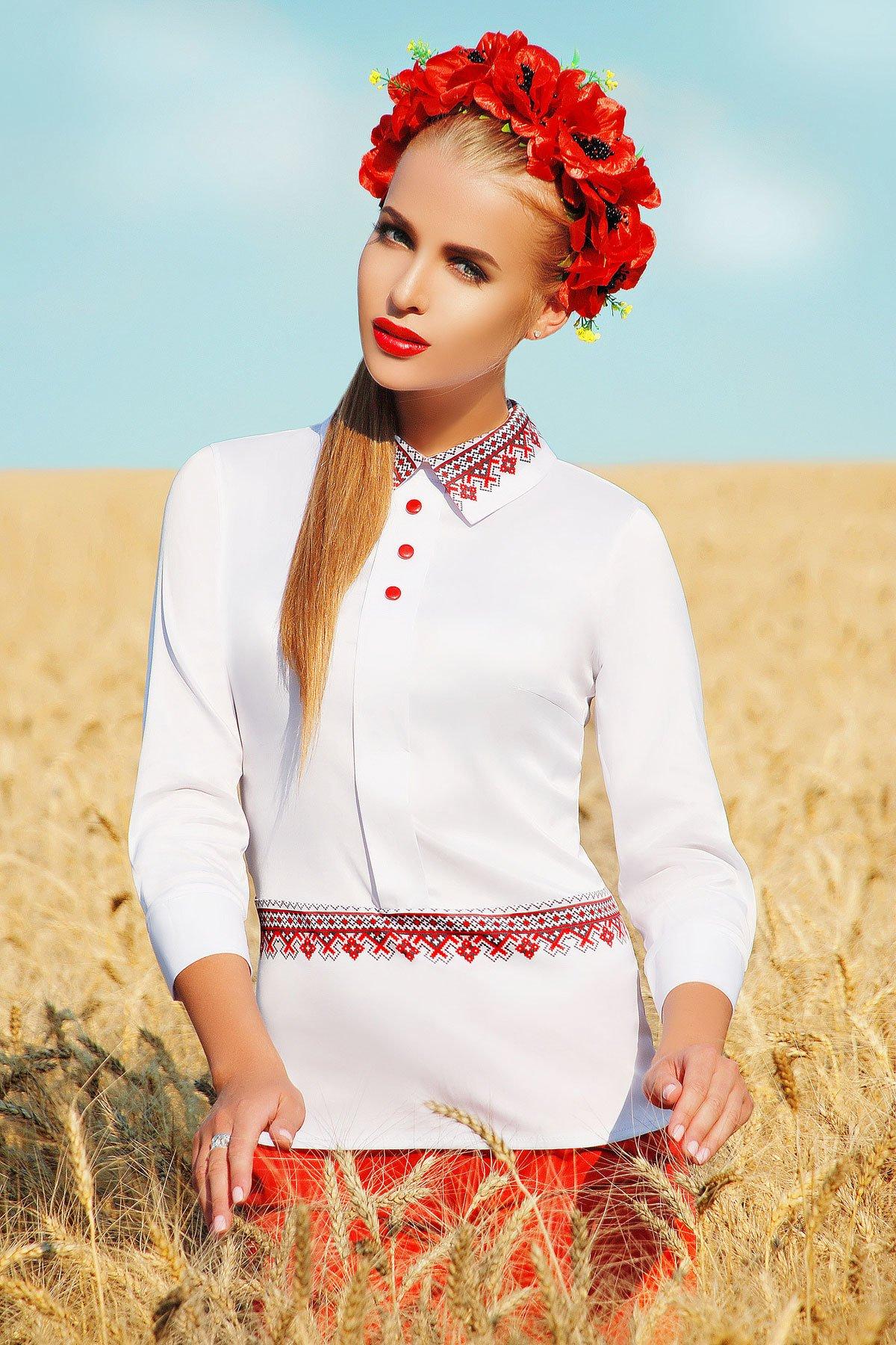 Витончена біла блузка з нейлону з довгим рукавом Василина - купити ... ca64d55428278