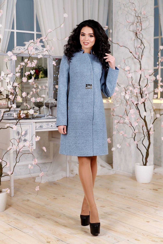 Демісезонне жіноче блакитне пальто В-1112 EU-3197 Тон 7 - купити ... f79d8ec029179