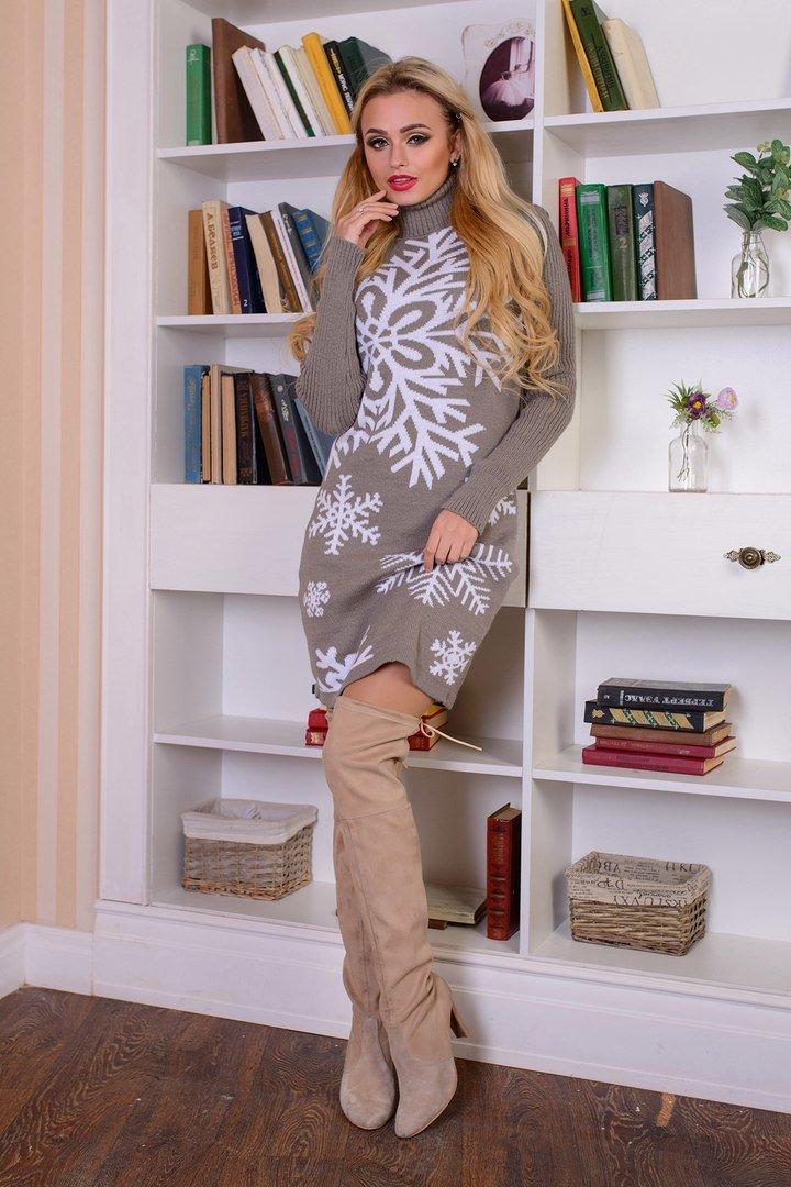 теплое вязаное платье снежинка капучино купить недорого Donna