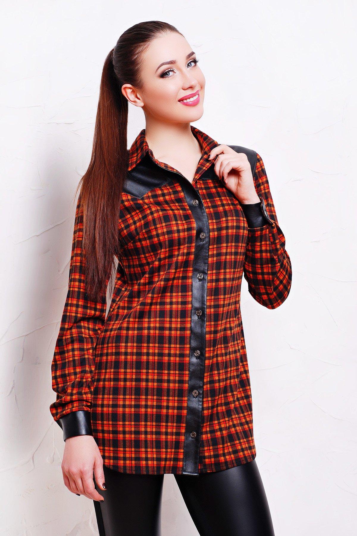 bd52ab17d0d Женская клетчатая рубашка с кожаными вставками Аризона - купить ...