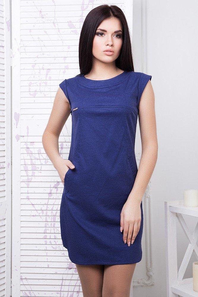 70b6b05b631ac8 Літнє коротке темно-синє плаття Льон - купити недорого — Donna Bella ...