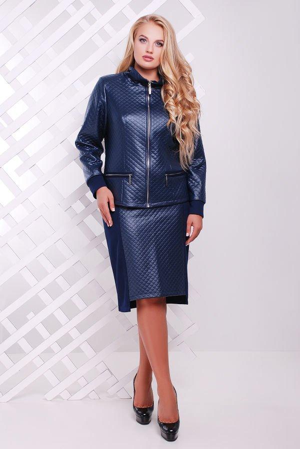 55a860e29a24b5 Стильний темно-синій жіночий костюм Мілан - купити недорого — Donna ...