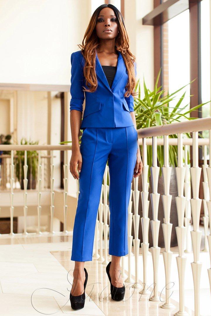 Брючний жіночий діловий костюм Ясмин 2 електрик - купити недорого ... f42de0e740ea2